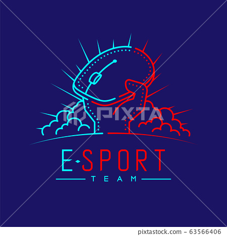 Esport logo icon outline stroke, Mouse gaming gear with hand, cloud and radius design illustration isolated on dark blue background with Esport Team text and copy space, vector eps 10 63566406