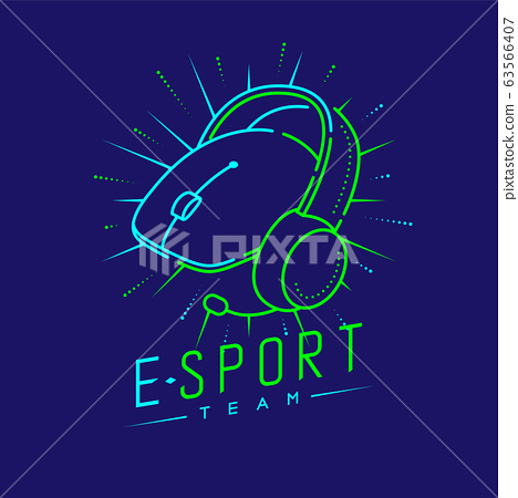 Esport streamer logo icon outline stroke, Mouse gaming gear with headphones, microphone and radius design illustration isolated on dark blue background with Esport Team text and copy space, vector eps 63566407