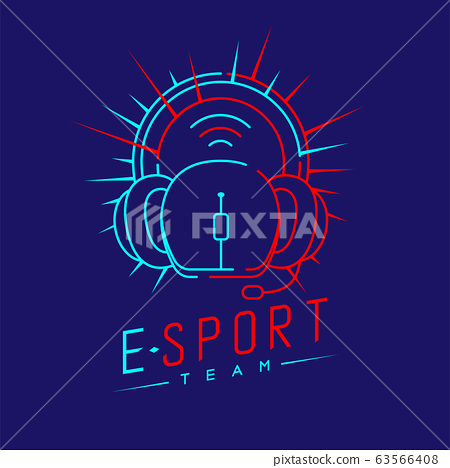 Esport streamer logo icon outline stroke, Mouse gaming gear with headphones, microphone and radius design illustration isolated on dark blue background with Esport Team text and copy space, vector eps 63566408