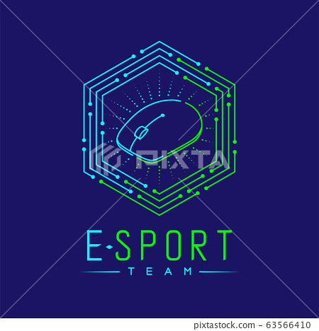 Esport logo icon outline stroke in hexagon frame, mouse gaming gear design illustration isolated on dark blue background with Esport Team text and copy space, vector eps 10 63566410