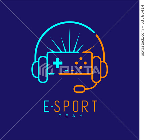 Esport streamer logo icon outline stroke, Joypad or Controller gaming gear with headphones, microphone and radius design isolated on blue background with Esport Team text and copy space, vector 63566414