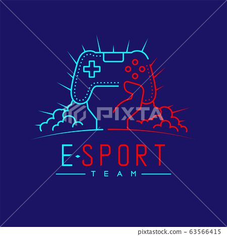 Esport logo icon outline stroke, Joypad or Controller gaming gear with hand, cloud and radius design illustration isolated on dark blue background with Esport Team text and copy space, vector eps 10 63566415