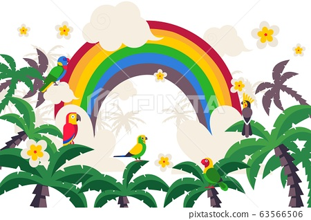 Tropical paradise, rainbow, palm, parrot, isolated on white, flat vector illustration. Hot country with wildlife. Equatorial country. 63566506