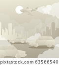 Cutting paper, polluting city environment, exhaust gases from transport car, plane flat vector illustration. Background silhouette of city. 63566540