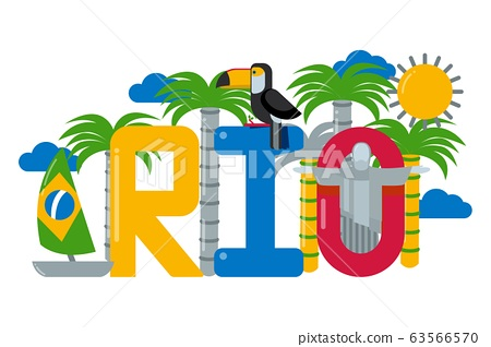 Rio, Brazil text town logo, palm tree, boat, sun and toucan, isolated on white, flat vector illustration. 63566570