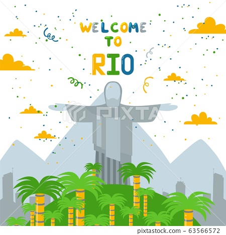 Welcome to Rio, Jesus statue in country Brazil, South America flat vector illustration. Background of mountain, forest and city. 63566572