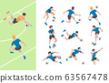 Soccer characters. Isometric athletics persons football players sprinting on field vector 3d people 63567478