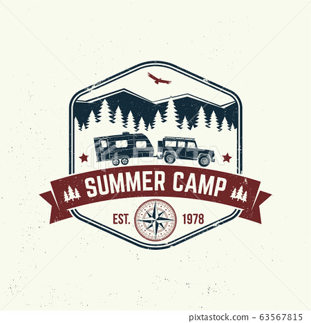 Summer camp. Vector. Concept for shirt or logo, print, stamp or tee. Vintage typography design with camper trailer, forest and mountain silhouette. 63567815