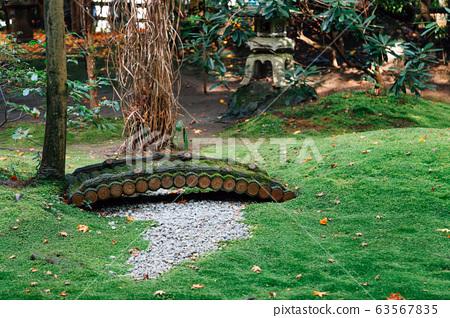 Green garden at Arashiyama Nonomiya Shrine in Kyoto, Japan 63567835