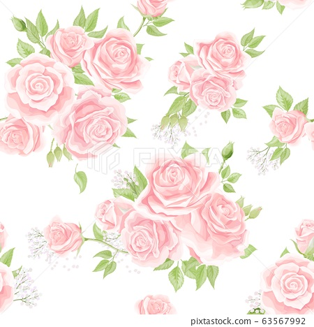 Seamless pattern with cream pink roses. Vintage floral background 63567992