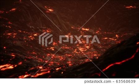 Red Orange vibrant Molten Lava flowing onto grey 63568639