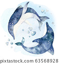 Set of sea animals. Blue watercolor ocean fish, turtle, whale and coral. Shell aquarium background. Nautical wildlife dolphin marine illustration, jellyfish, starfish 63568928