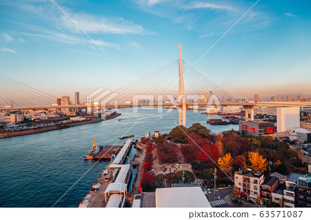 Osaka port and cityscape from Tempozan ferris wheel in Japan 63571087