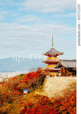 Kiyomizu-dera temple with autumn maple in Kyoto, Japan 63572297