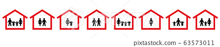 Quarantine symbols of families, couples, singles. Stay at home icons. Protect yourself, your family, children, partner. Isolated vector illustration on white background. 63573011