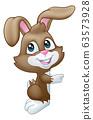 Easter Bunny Rabbit Peeking Pointing Sign Cartoon 63573928