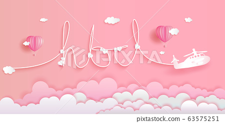 Lettering happy birth day with balloons on pink 63575251