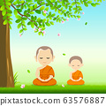 Thai monks and thai novice, Buddhism meditation sit down  63576887