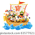 Ox and Seven Lucky Gods on Treasure Ship 63577021