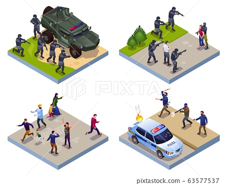 Antiterror Special Police Forces and Terrorists 2x2 illustration isometric icons on isolated background 63577537