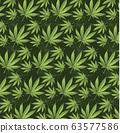 Cannabis leaf on green background. ESP pattern 63577586