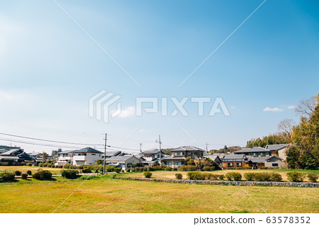 Japanese countryside village and blue sky in Nara, Japan 63578352
