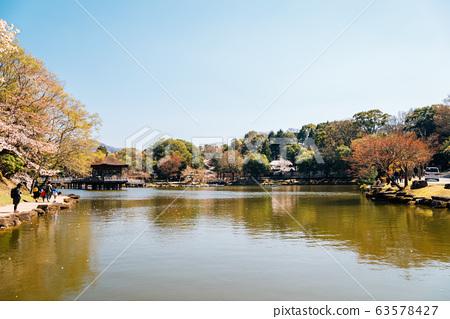Ukimido pavilion on pond at spring in Nara, Japan 63578427