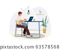 Work at home concept design. Freelancer man working on laptop at his house and keep cat pet on his knees. Vector illustration isolated on white background 63578568