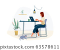 Work at home concept design. Freelance woman working on laptop at her house, dressed in home clothes. Vector illustration isolated on white background 63578611