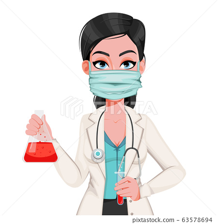 Nurse in respiratory mask holds test tube 63578694
