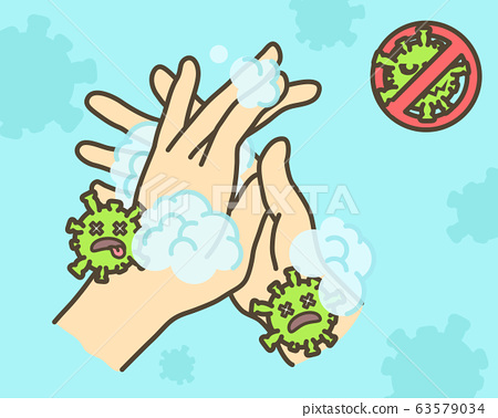 Clean hands thoroughly To kill the virus. Hands used to touch will contaminate the virus. The Corona virus concept. 63579034