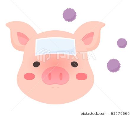 CSF_ 돼지 열 _ 돼지 콜레라 _ 감염된 돼지의 일러스트 63579666
