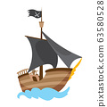 Wooden pirate buccaneer filibuster corsair sea dog ship icon game, isolated flat design. Color cartoon frigate. Vector illustration 63580528