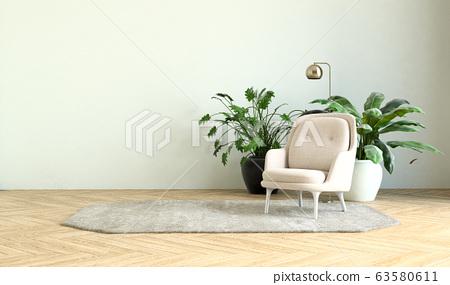 modern interior of living room 3d illustration 63580611
