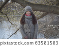 Portrait of happy young Caucasian woman in warm clothes smiling at camera. Cheerful beautiful brunette girl posing outdoors on sunny autumn day. Joy, leisure, lifestyle. 63581583