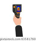 Hand holds Thermal scaner camera infrared. Portable Visualize temperature differences thermometer, thermographic for the environment and people. Vector illustration isolated 63581760