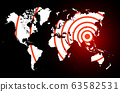 Coronavirus foci on world map, COVID-19 2019-nCoV virus spreading around planet, banner for breaking news about corona virus, background for medical news and graphical image of statistics 63582531