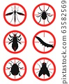 Set of warning signs with insects. Pests. Vector illustration 63582569