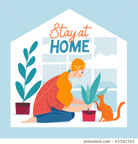 Stay home vector quarantine illustration with brave people spend time at home 63582703
