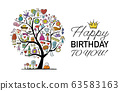 Art tree with female accesuares, gifts and wishes. Idea for your design birthday card, shop logo, banner 63583163