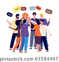 Meeting international friends. Students from different countries together greet each other in their native language. Worldwide company employees at business meet vector illustration 63584467