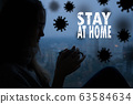 Stay at home virus quarantine background. 63584634