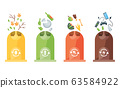 Garbage collection recycling. Plastic containers for garbage of different types. Rubbish container concept logo. Vector illustrations in cartoon style 63584922