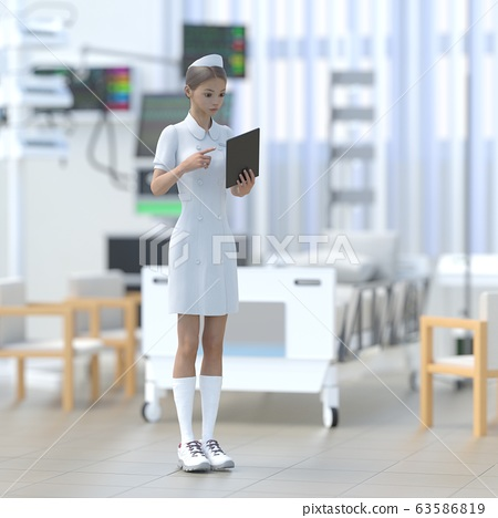 Young nurse working at ICU perming 3DCG illustration material 63586819