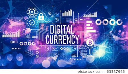 Digital currency theme with technology light background 63587946