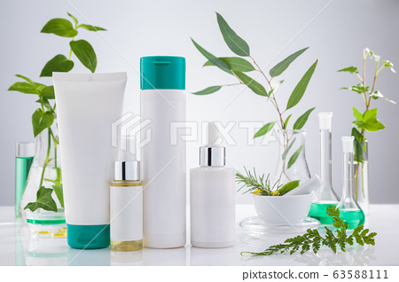 Set of cosmetic products standing in laboratory  63588111