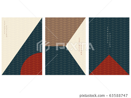 Geometric background with Japanese pattern vector. Brochure template in vintage style. 63588747