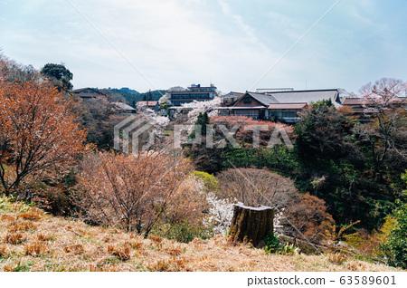 Yoshino mountain and old village at spring in Nara, Japan 63589601
