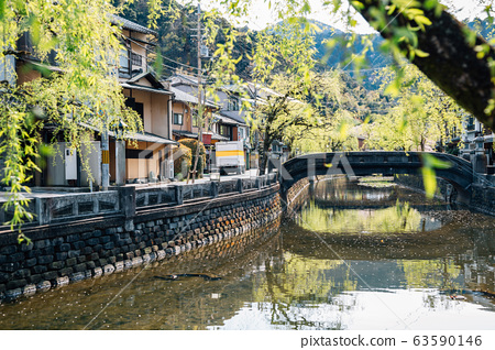 Kinosaki Onsen village at spring in Hyogo, Japan 63590146