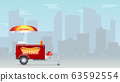 Hot dog cart, street fast food market on big city 63592554
